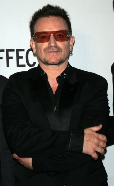 Bono arrives for the premiere of The Lazarus Effect at the Museum of Modern Art in New York on May 4, 2010. UPI /Laura Cavanaugh