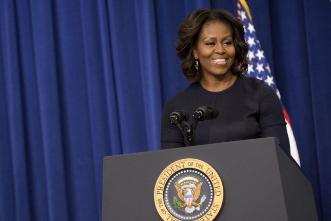 First Lady Michelle Obama delivers remarks during an event on expanding college opportunity, in the Eisenhower Executive Office Building, January 16, 2014, in Washington, D.C. UPI/Kevin Dietsch