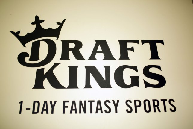 A DraftKings logo is displayed in New York City on November 13, 2015. Photo by John Angelillo/UPI