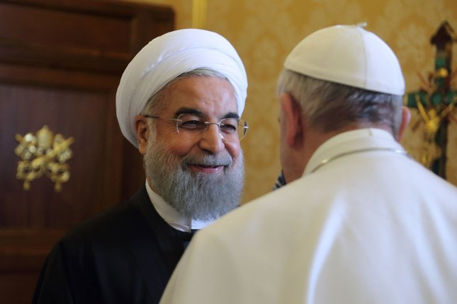 Pope Francis meets with Iranian President Hassan Rouhani at the Vatican Tuesday, where the two leaders discussed a variety of topics -- including religious freedom and last year's nuclear deal. It was the first meeting between the pope and Iran's president since 1999. Photo by Vatican Pool/UPI