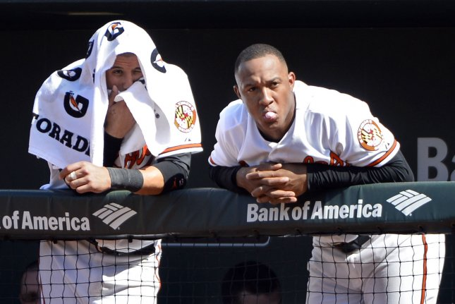 Baltimore Orioles' Manny Machado (L) and Jonathan Schoop. Photo by David Tulis/UPI