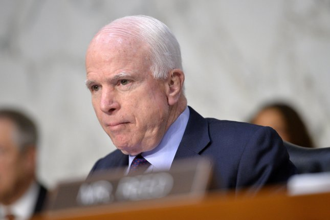 Sen. John McCain, R-Ariz., fended off a primary challenge from conservative former state Sen. Kelli Ward on Tuesday. He will go on to face Rep. Ann Kirkpatrick in the general election. File Photo by Kevin Dietsch/UPI