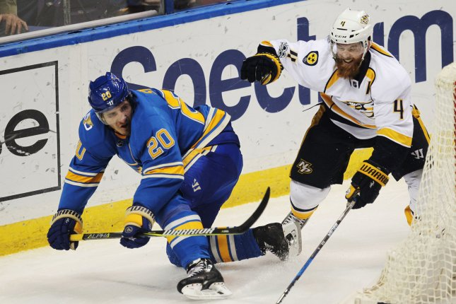 Nashville Predators Ryan Ellis takes down St. Louis Blues Alexander Steen in the first period at the Scottrade Center in St. Louis on April 2, 2017. File photo by Bill Greenblatt/UPI