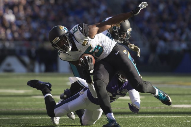 Jacksonville Jaguars wide receiver Allen Robinson (15) runs against the Baltimore Ravens defense in the second quarter on November 15, 2015 at M&T Bank Stadium in Baltimore, Maryland. File photo by Kevin Dietsch/UPI