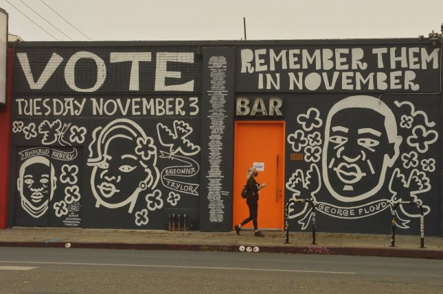 A mural depicting Breonna Taylor and George Floyd is seen in Vernon, Calif., on September 11. Taylor was shot dead during a police raid in March. Photo by Jim Ruymen/UPI