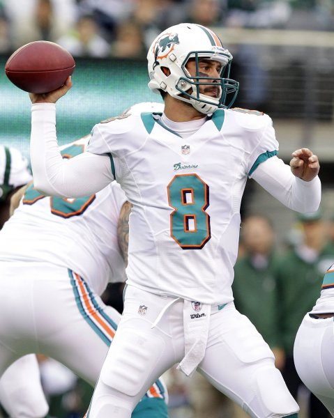 Miami Dolphins quarterback Matt Moore throws a pass in the fourth quarter against the New York Jets in week 8 of the NFL season at MetLife Stadium in East Rutherford, N.J., Oct. 28, 2012. The Dolphins defeated the Jets 30-9. UPI /John Angelillo