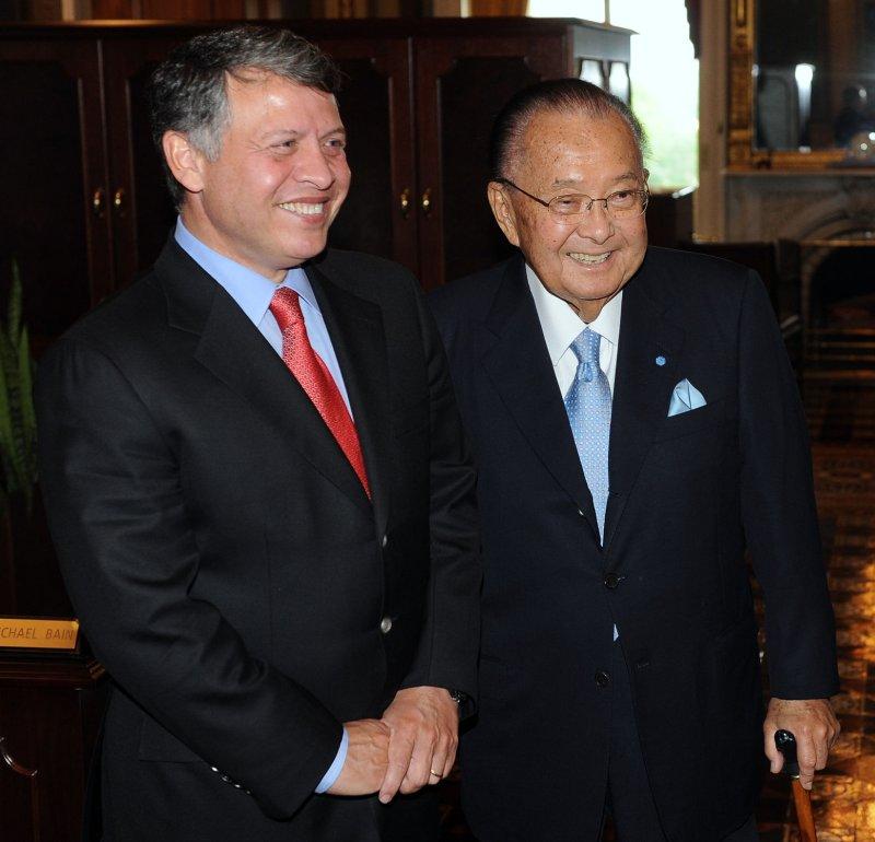 Sen. Daniel Inouye, right, with King Abdullah of Jordan in Washington May 17, 2011. UPI/Roger L. Wollenberg