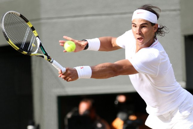 Spain's Rafael Nadal plays against Sweden's Robin Soderling at the Wimbledon championships in Wimbledon on June 30, 2010. Nadal beat Soderling 3-6,6-3,7-6,6-1. UPI/Hugo Philpott