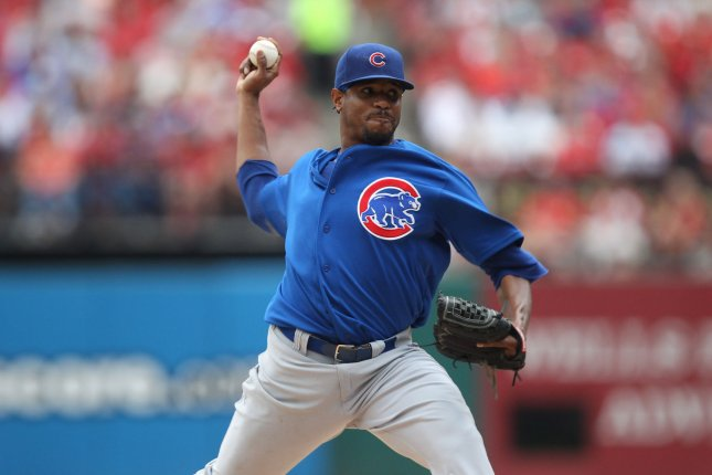 Chicago Cubs starting pitcher Edwin Jackson delivers a pitch to the St. Louis Cardinals in the second inning at Busch Stadium in St. Louis on September 28, 2013. UPI/Bill Greenblatt