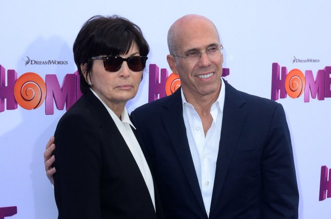Jeffrey Katzenberg, seen here in March 2015 with his wife Marilyn at the premiere of the animated sci-fi comedy Home, will step down as Dreamworks Animation's chief executive to head DreamWorks New Media in a $3.8 billion deal with Comcast Corp.'s NBCUniversal. Photo by Jim Ruymen/UPI