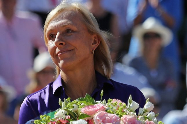 Martina Navratilova attends the trophy ceremony after the French Open women's final match between Lucie Safarova of the Czech Republic and American Serena Williams at Roland Garros in Paris. File photo by David Silpa/UPI