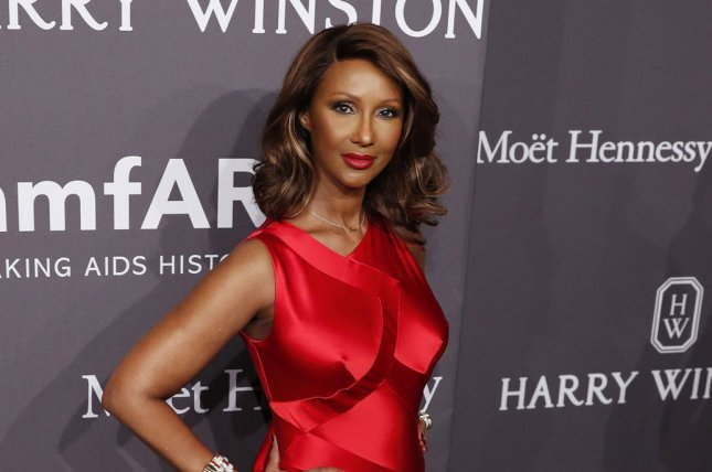Iman arrives on the red carpet at the 19th annual amfAR New York Gala at Cipriani Wall Street on February 8 in New York City. The supermodel posted of photo of husband David Bowie on what would've been their 25th wedding anniversary. File Photo by John Angelillo/UPI