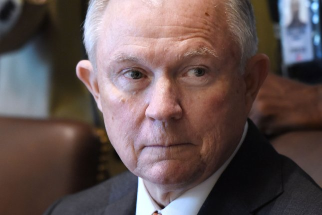 Attorney General Jeff Sessions said the Department of Justice arrested 120 healthcare professionals in the largest-ever roundup of care providers suspected of opioid abuses. Photo by Olivier Douliery/UPI