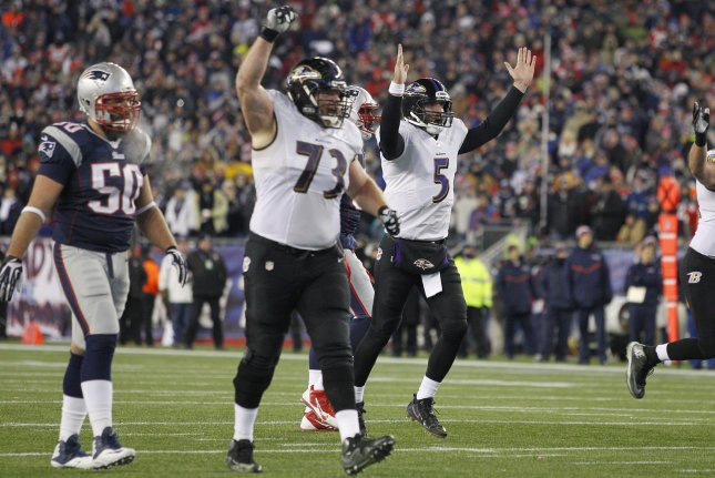Baltimore Ravens quarterback Joe Flacco (5) and offensive lineman Marshal Yanda (73) celebrate after Flacco connected with tight end Owen Daniels (not pictured) on a 11-yard touchdown in the second quarter of the AFC Divisional Playoff game against the New England Patriots at Gillette Stadium in Foxborough, Massachusetts on January 10, 2015. Photo by Matthew Healey/UPI