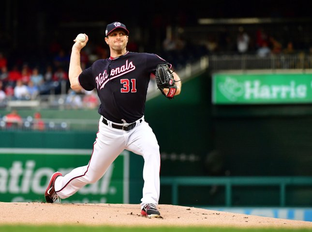 Max Scherzer and the Washington Nationals take on the Baltimore Orioles on Tuesday. Photo by Kevin Dietsch/UPI