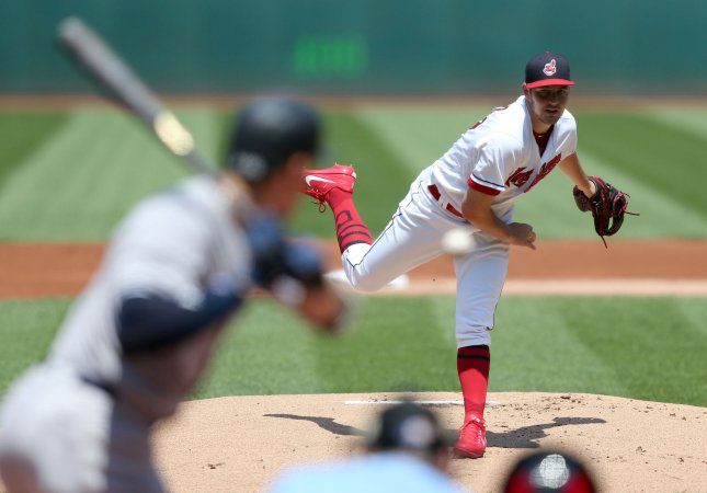 Trevor Bauer and the Cleveland Indians take on the Texas Rangers on Friday. Photo by Aaron Josefczyk/UPI