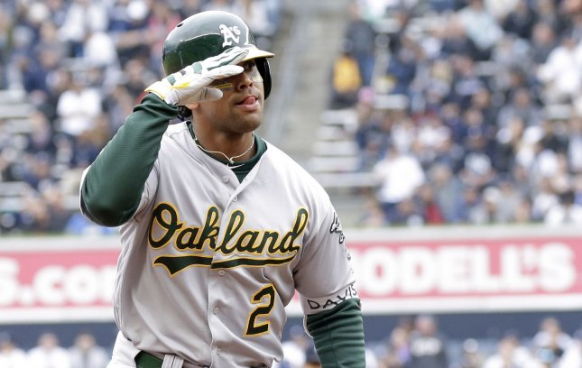 Khris Davis and the Oakland A's face the Texas Rangers on Sunday. Photo by John Angelillo/UPI