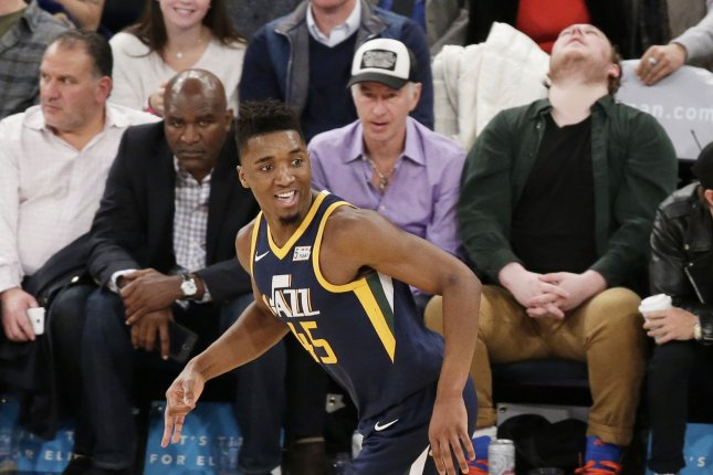 Utah Jazz star Donovan Mitchell scored a team-high 19 points against the Portland Trail Blazers on Tuesday in Salt Lake City. File Photo by John Angelillo/UPI