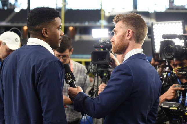 Notre Dame's Brandon Wimbush talks to a reporter during media day before the College Football Playoff Semifinal at the Goodyear Cotton Bowl Classic on December 27 at AT&T stadium in Arlington, Texas. Photo by Ian Halperin/UPI