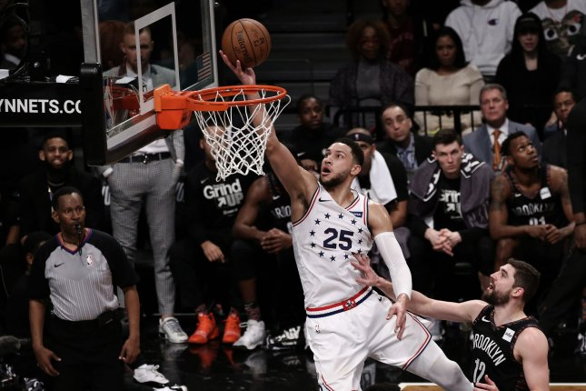 Philadelphia 76ers guard Ben Simmons (25) had 13 points, six assists and five rebounds against the Brooklyn Nets during Tuesday night's series-clinching win in Game 5. Photo by Peter Foley/UPI