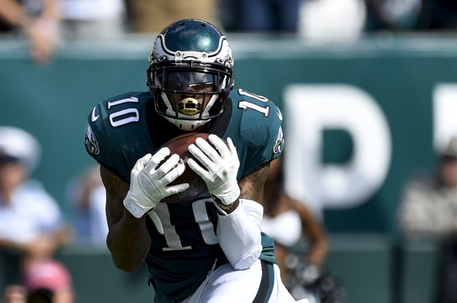 Philadelphia Eagles wide receiver DeSean Jackson suffered a torn abdominal muscle during Sunday's game against the Chicago Bears. File Photo by Derik Hamilton/UPI