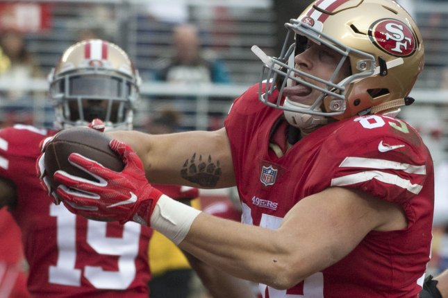 San Francisco 49ers tight end George Kittle scored three times in two games against Arizona last season and should be productive in another game against the Cardinals in Week 1. File Photo by Terry Schmitt/UPI