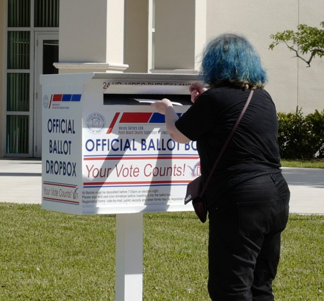 Texas Gov. Greg Abbott said each county may only have one mail-in ballot drop-off box. File Photo by Gary I Rothstein/UPI