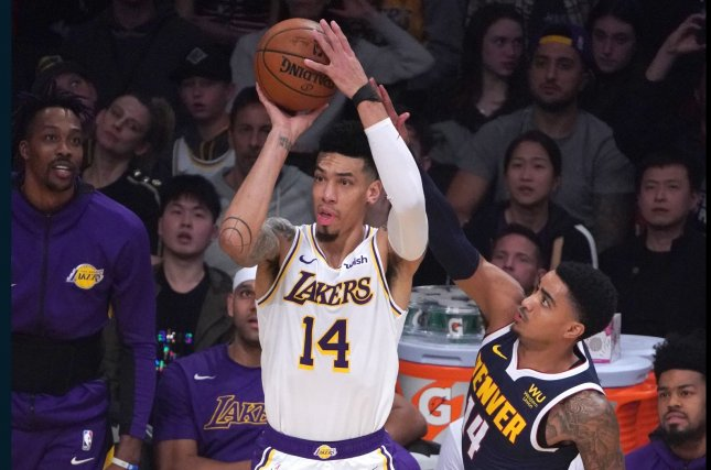 Los Angeles Lakers guard Danny Green (14) has now been involved in two trade agreements this week. The Thunder initially acquired him in the Dennis Schroder deal on Monday. File Photo by Jon SooHoo/UPI