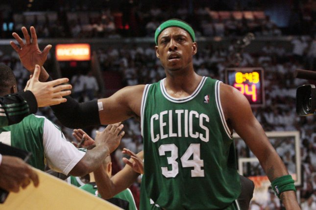 Former Boston Celtics forward Paul Pierce is a 10-time All-Star selection and finished his career second on the Celtics' all-time scoring list. File Photo by Susan Knowles/UPI