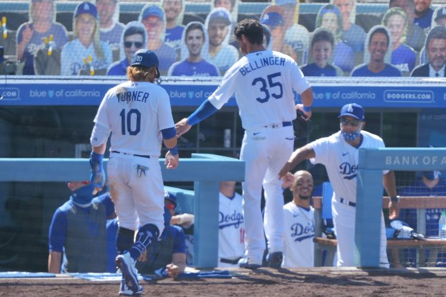 Los Angeles Dodgers outfielder Cody Bellinger (35) was credited with an RBI single instead of a two-run homer on the bizarre play. File Photo by Jim Ruymen/UPI