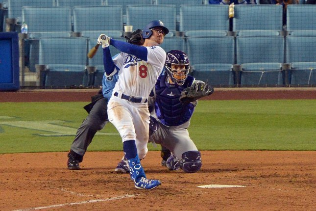Los Angeles Dodgers rookie Zach McKinstry (8), shown during a game against the Colorado Rockies on April 14, was placed on the injured list with a strained right oblique muscle. Photo by Jim Ruymen/UPI