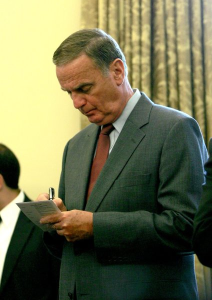 U.S. National Security Adviser Jim Jones, pictured at an Aug. 18 meeting between President Barack Obama and Egyptian President Hosni Mubarak, says more terrorists are being captured and killed because the world is coming together under U.S. leadership, ABC News reported Wednesday. (UPI Photo/Dennis Brack/Pool)