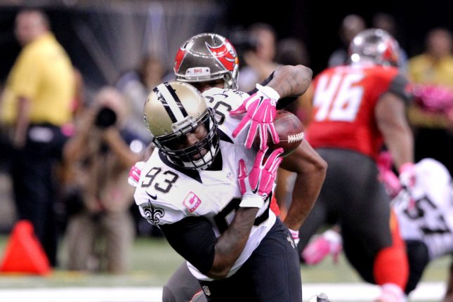 New Orleans Saints outside linebacker Junior Galette (93) intercepts a Tampa Bay Buccaneers quarterback Mike Glennon and then fumbled it back to the Bucs during the third quarter at the Mercedes-Benz Superdome in New Orleans October 5, 2014. UPI/A.J. Sisco