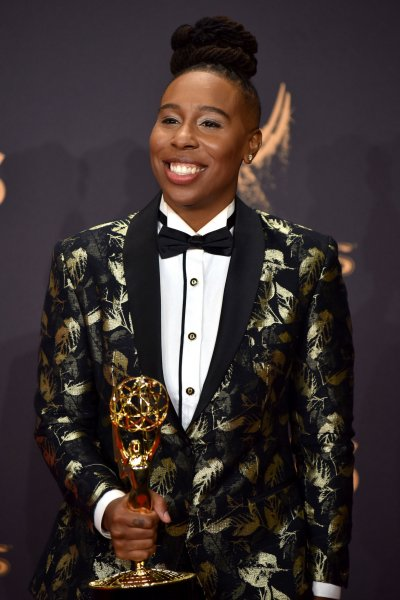 Lena Waithe, co-winner of the Outstanding Writing for a Comedy Series award for Master of None, appears backstage during the 69th annual Primetime Emmy Awards on September 17. Waithe is the first African American woman to win in the category. Photo by Christine Chew/UPI