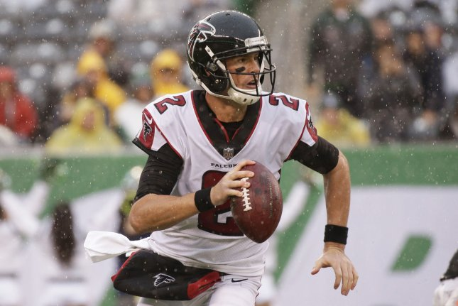 Atlanta Falcons Matt Ryan scrambles out of the pocket in the first quarter against the New York Jets in week 8 of the NFL at MetLife Stadium in East Rutherford, New Jersey on October 29, 2017. File photo by John Angelillo/UPI