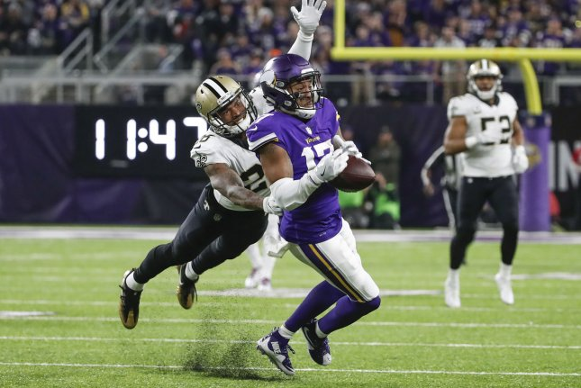 New Orleans Saints cornerback P.J. Williams (L) was handed a two-game suspension for a violation of the NFL's substance abuse policy. File Photo by Kamil Krzaczynski/UPI