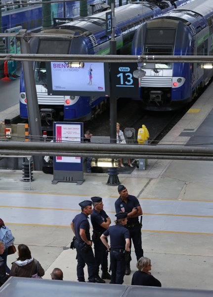 French national police patrol the Gare du Nord train station in Paris, France, on August 24, 2015, three days after a terrorist attack on the rail system was thwarted by four men. File Photo by David Silpa/UPI