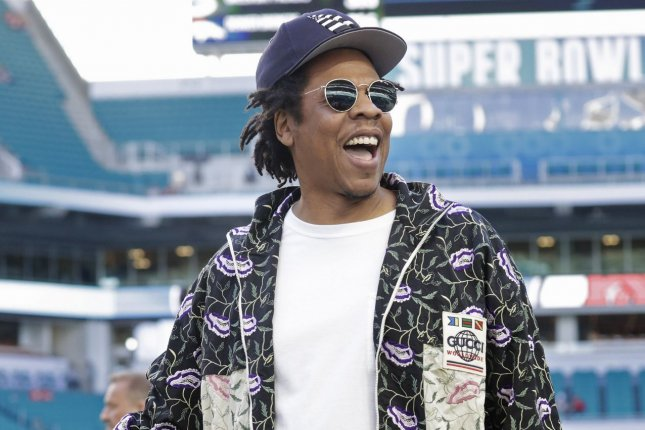 Entertainer Jay-Z arrives on the field before Super Bowl LIV at the Hard Rock Stadium in Miami Gardens on February 2. The rapper turns 51 on December 4. File Photo by John Angelillo/UPI
