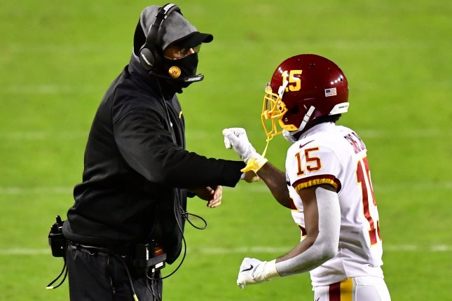 Washington Football Team head coach Ron Rivera (L) guided the team to an NFC East title this past season. Washington finished with a 7-9 record before losing to the Tampa Bay Buccaneers in the wild-card round of the playoffs. File Photo by David Tulis/UPI