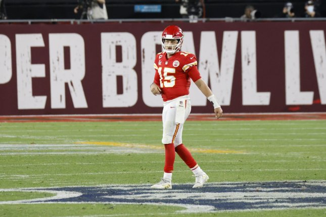 Kansas City Chiefs quarterback Patrick Mahomes, who was under constant pressure from the Tampa Bay Buccaneers defense Sunday in Super Bowl LV, said his injured left foot did not impact his performance. Photo by John Angelillo/UPI