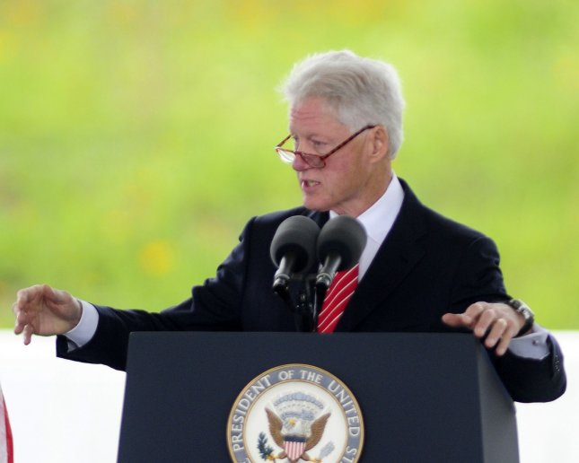 President Bill Clinton addresses the crowd before the unveiling of the Wall of Names at the dedication of the Flight 93 National Memorial on September 10, 2001. The white marble wall has the 40 names of the victims of Flight 93 that perished in a terrorist attacks of 10 ten ago. UPI/Archie Carpenter