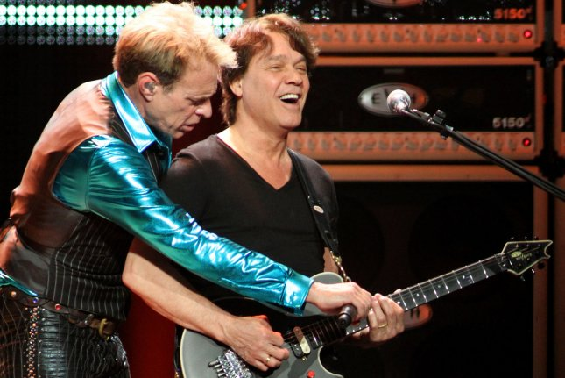 Eddie Van Halen (R) and David Lee Roth with Van Halen perform in concert at the BankAtlantic Center in Sunrise, Florida on April 10, 2012. UPI/Michael Bush