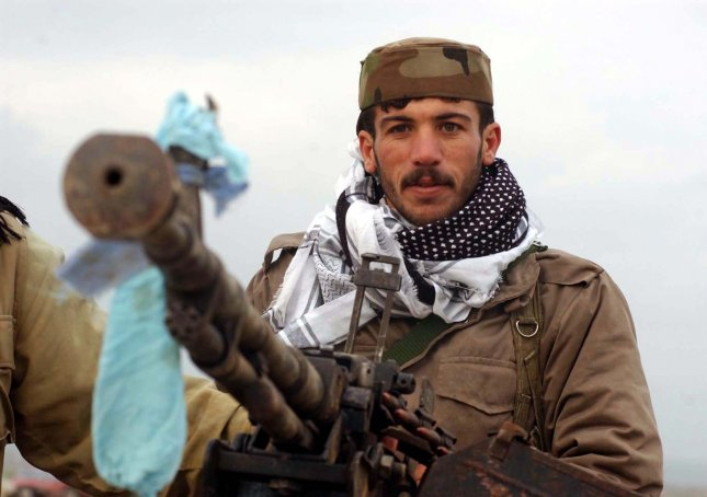 A Kurdish soldier in northern Iraq, where the Kurdistan Region Security Council reported that Kurdish soldiers rescued a Swedish teen held by the Islamic State near Mosul, Iraq. File photo by Ali Khaligh/UPI