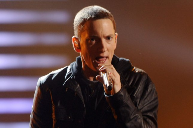 Eminem performs Not Afraid at the 2010 BET Awards in Los Angeles on June 27, 2010. Eminem joined Drake onstage in Detroit Tuesday for a special performance of their hit 2007 single Forever. File Photo by Jim Ruymen/UPI