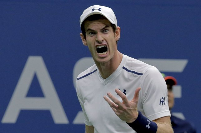 Andy Murray, of Great Britain, reacts after losing a point to Kei Nishikori, of Japan, during their quarterfinals match in Arthur Ashe Stadium at the 2016 US Open Tennis Championships at the USTA Billie Jean King National Tennis Center in New York City on September 7, 2016. Nishikori won 1-6, 6-4, 4-6, 6-1, 7-5. Photo by Ray Stubblebine/UPI