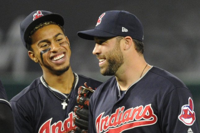 Cleveland Indians stars Francisco Lindor, left, and Jason Kipnis have some fun during a pitching change. Photo by Lori Shepler/UPI