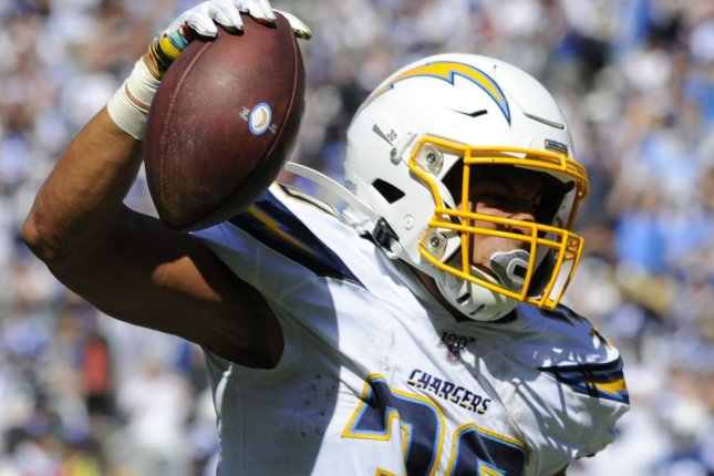 The Los Angeles Chargers will turn to Justin Jackson and Joshua Kelley at running back after starter Austin Ekeler (pictured) sustained injuries on Sunday. File Photo by Lori Shepler/UPI