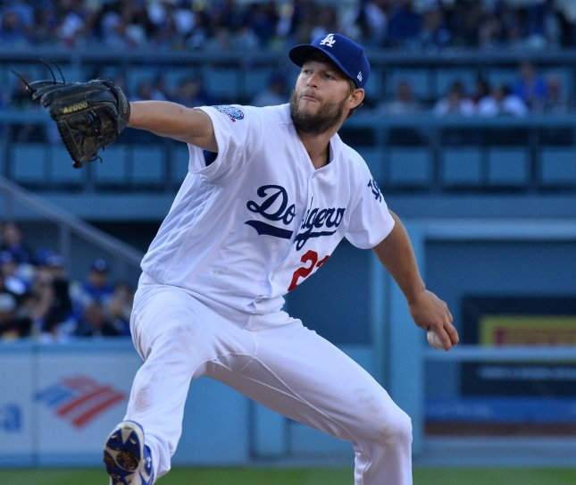 Clayton Kershaw and the Los Angeles Dodgers take on the Los Angeles Angels on Sunday. Photo by Jim Ruymen