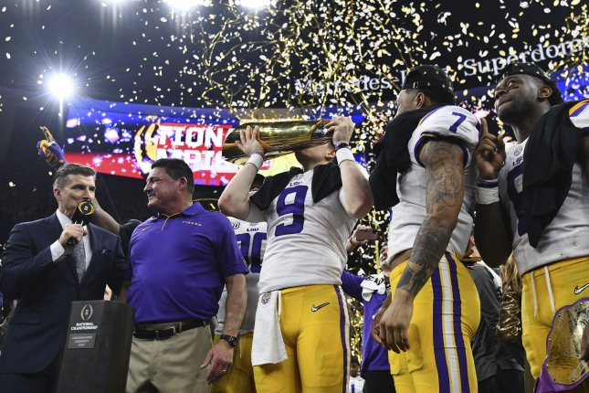 LSU beat Clemson 42-35 in the College Football Playoff national championship game Monday at the Mercedes-Benz Superdome in New Orleans. Photo by Pat Benic/UPI