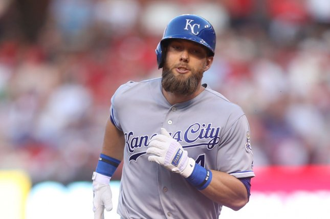 Kansas City Royals outfielder Alex Gordon became a free agent this off-season when the team declined its half of his $23 million mutual option for 2020. File Photo by Bill Greenblatt/UPI